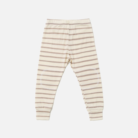 Merino Supersoft Top & Bottoms Set - Taupe Stripe