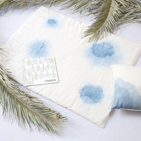 Wava Hand Dyed Wool Baby Quilt - Blue Clouds