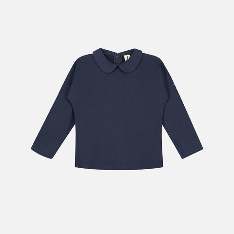 Organic LS Collar Tee - Night Blue