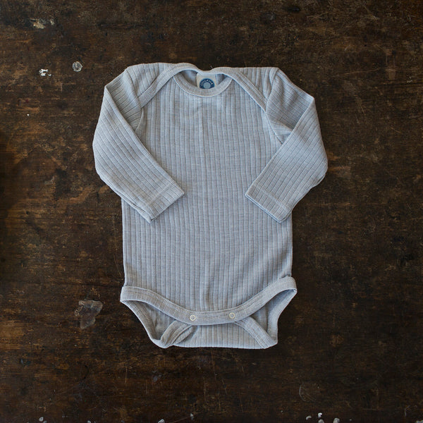 Organic Merino Wool, Cotton & Silk Body - Silver Melange - 0-3m