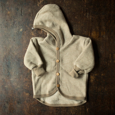 Merino Wool / Cotton Fleece Jacket - Latte