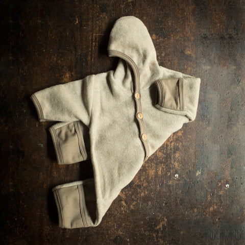 Merino Wool / Cotton Fleece Snuggle Suit - Latte