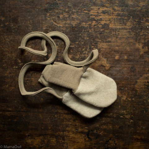 Merino Wool / Cotton Fleece Baby Mittens - Latte