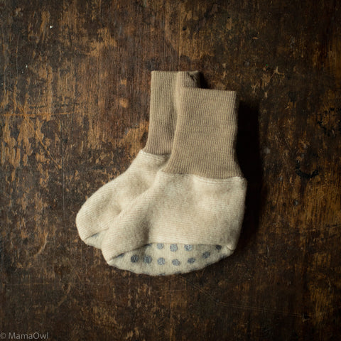 Wool / Cotton Fleece Baby Booties - Latte