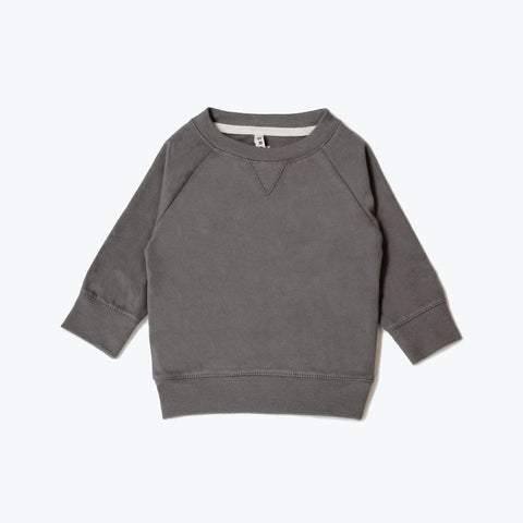 Organic Crew Neck Sweater - Dark Grey - 12-18m