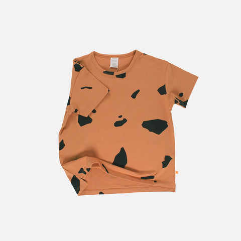 Pima Cotton Cut Outs Oversized Tee - Dark Peach - 2-8y