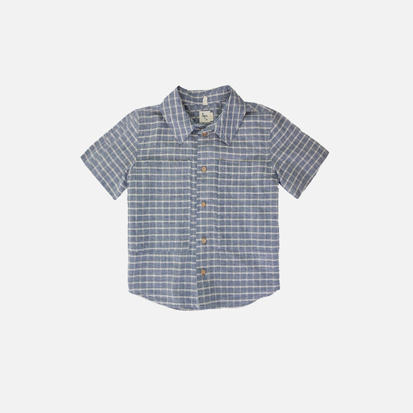 Chambray Button Down Shirt - Checked - 8y