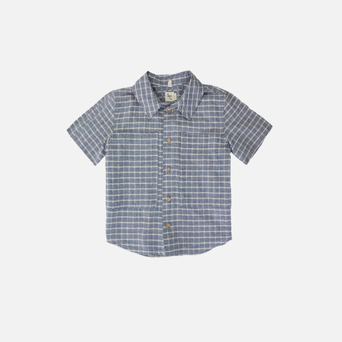 Chambray Button Down Shirt - Checked - 2-8y