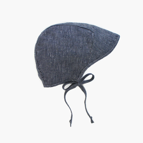 Cotton/Hemp Brimmed Bonnet - Navy Stripe - 0m-4y