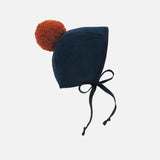 Wool/Cotton Pom Bonnet - Midnight/Rust - 0m-4y