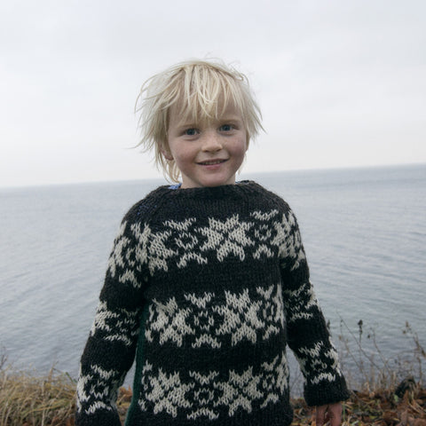 Hand knitted Faroese wool sweater - Brown/Natural - 2-12 years