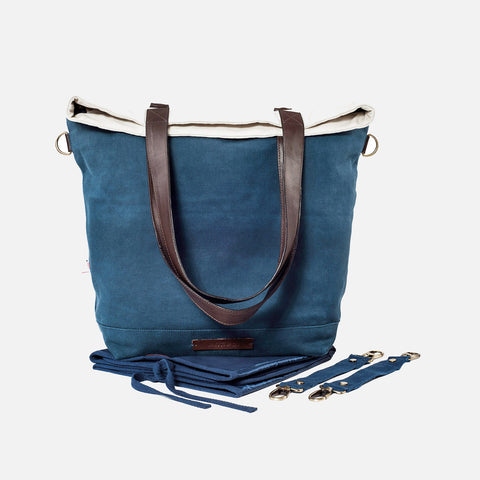 Global Traveller Cotton Changing bag - Dip Dye Blue