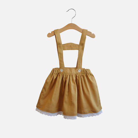 Cotton/Linen Heidi Skirt - Mustard - 12-18m