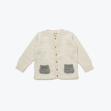 Lace pocket cardigan - Ecru/Grey 6m-8y