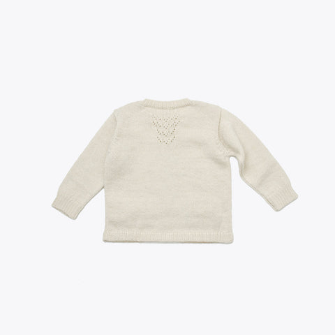 Lace pocket cardigan - Ecru/Grey 6-8y