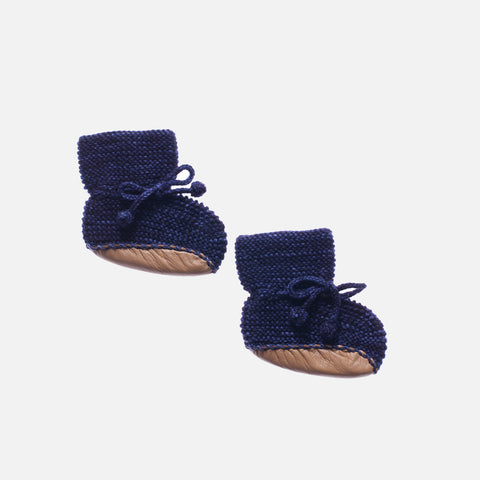 Hand Knit Merino Wool Day Hike Booties - Ink - 0-12m