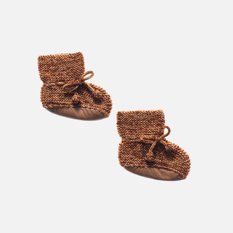 Hand Knit Merino Wool Day Hike Booties - Nutmeg - 0-12m