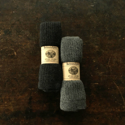 Adult Alpaca Leg Warmers - Anthracite and Slate - One Size