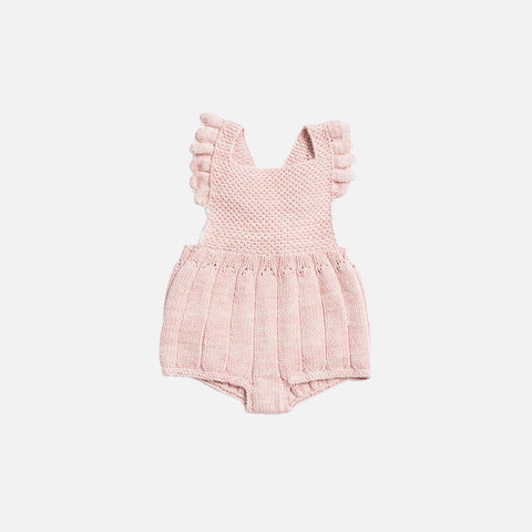 Hand Knit Eleanor Sunsuit - Pink Sand/Natural - 6m-4y
