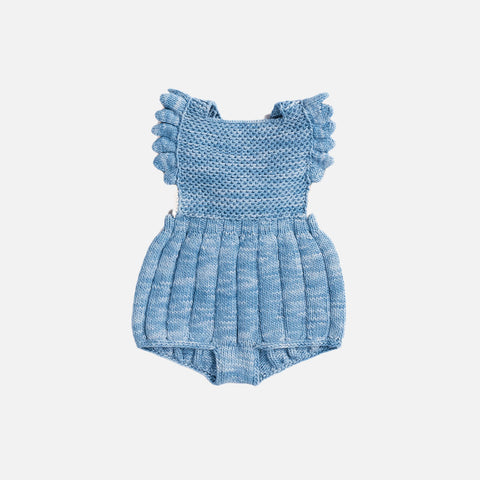 Hand Knit Eleanor Sunsuit -Sky/Natural - 6m-2y