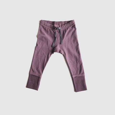 Organic Cotton Elmer Leggings - Plum- 0m-1y