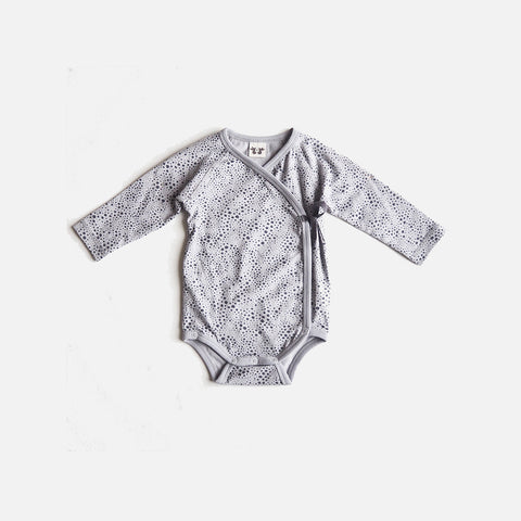 Organic Cotton Elna Wrap Body - Grey Print - 0-3m