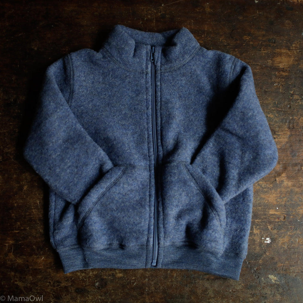 Supersoft Organic Merino Wool Fleece Zip Jacket Blue Melange Mamaowl
