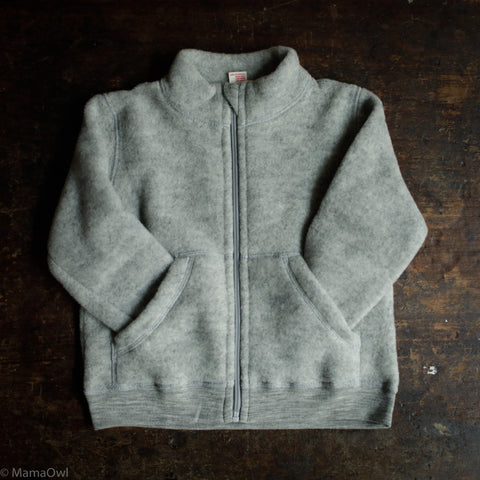Soft Organic Merino Wool Fleece Zip Jacket - Light Grey
