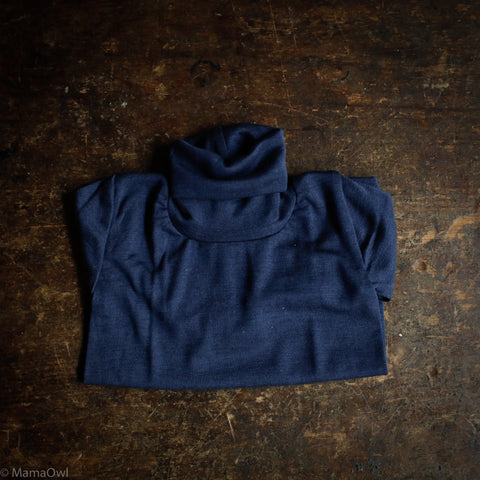 Organic Silk & Merino Wool Polo Neck Top - Marine