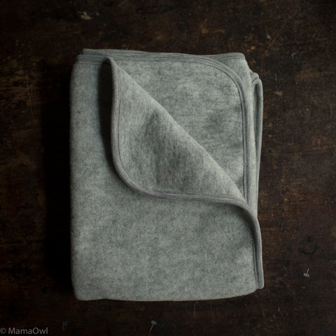 100% Organic Merino Wool Fleece Swaddle / Baby Blanket - Light Grey