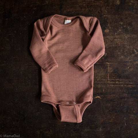 Exclusive Organic Silk & Merino Baby Body - Rosewood