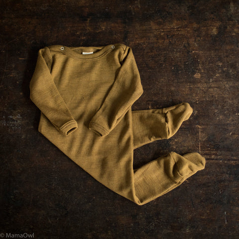 Exclusive Organic Silk & Merino Footed Pyjamas - Deep Ochre