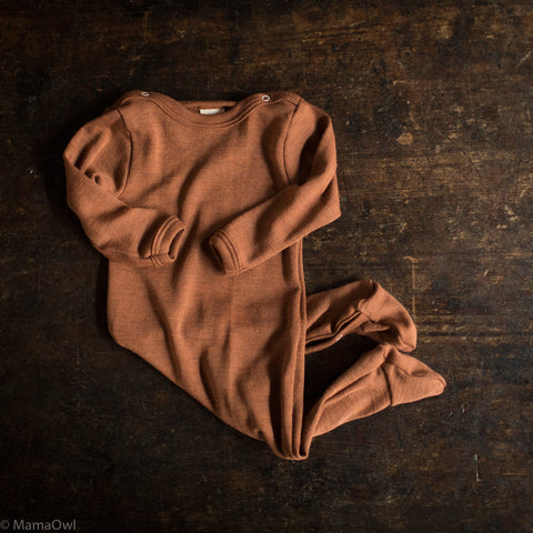Exclusive Organic Silk & Merino Footed Pyjamas - Deep Rust