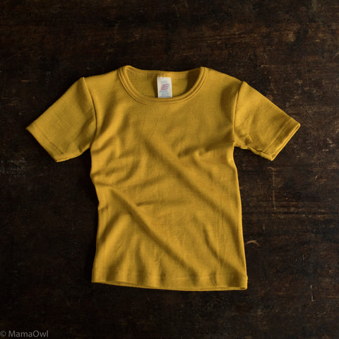 Organic Silk & Merino Wool Kids SS Top- Saffron