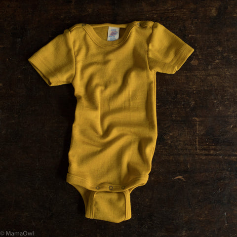 Organic Silk & Merino Wool Short Sleeved Body - Saffron