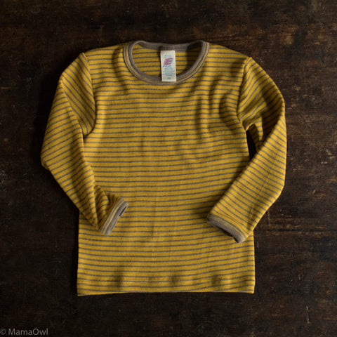 Organic Silk & Merino Wool Long Sleeve - Saffron/Walnut stripe