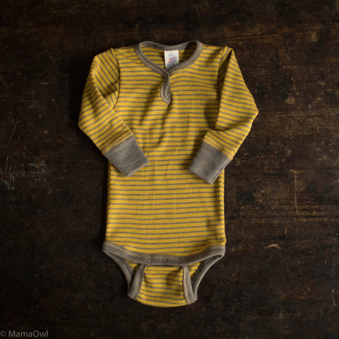 Organic Silk & Merino Wool Body - Saffron/Walnut Stripe