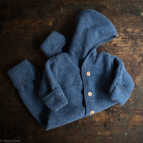100% Organic Merino Wool Supersoft Fleece Suit - Blue Melange