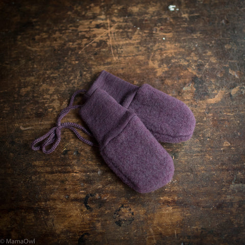 100% Organic Merino Wool Supersoft Fleece Mittens - Lilac Melange