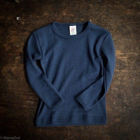 Organic Silk & Merino Wool Long Sleeve - Marine