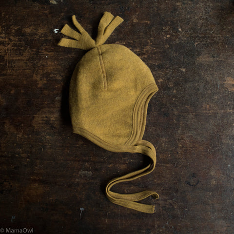 100% Organic Merino Wool Supersoft Fleece Hat - Saffron Melange