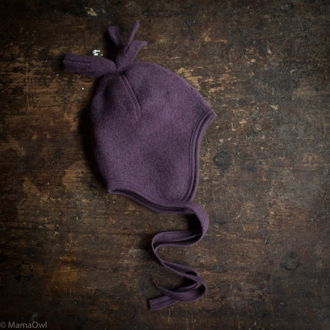 100% Organic Merino Wool Supersoft Fleece Hat - Lilac Melange