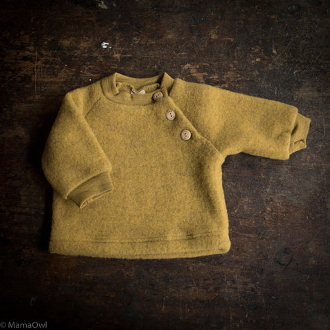 Organic Merino Wool Supersoft Fleece Sweater - Saffron Melange