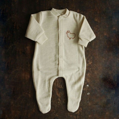 Organic Merino Wool Terry Pyjamas - Natural