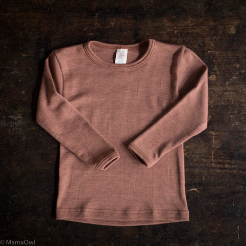 Exclusive Organic Silk & Merino Kids LS Top - Rosewood