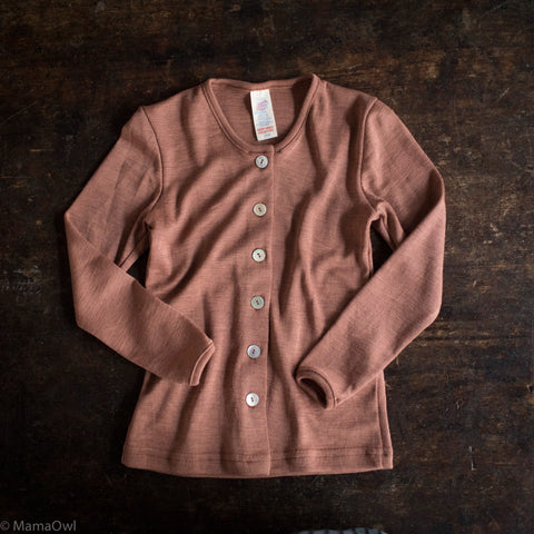 Exclusive Organic Silk & Merino Kids Cardigan - Rosewood