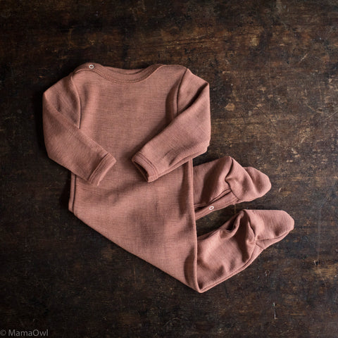 Exclusive Organic Silk & Merino Footed Pyjamas - Rosewood