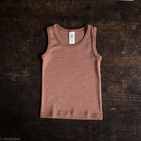 Exclusive Organic Silk & Merino Kids Sleeveless Top - Rosewood