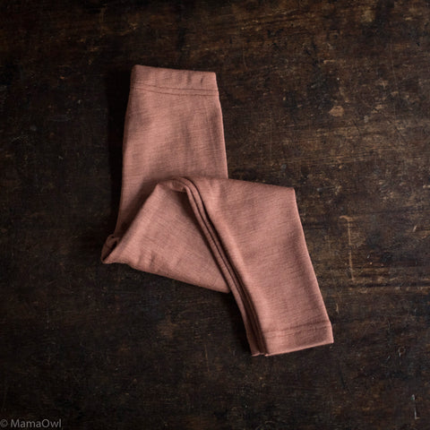 Exclusive Organic Silk & Merino Kids Leggings - Rosewood
