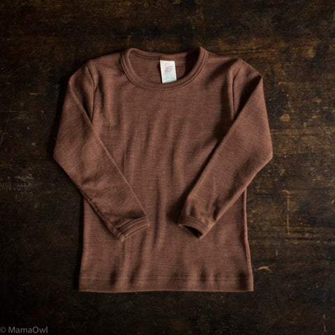 Exclusive Organic Silk & Merino Kids LS Top - Hazelnut